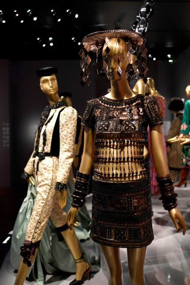 This picture taken on September 25, 2017 shows creations by late French designer Yves Saint Laurent, dispayed at the new Yves Saint Laurent museum, located in the historical building his fashion house on avenue Marceau in Paris. / AFP PHOTO / STEPHANE DE SAKUTIN / RESTRICTED TO EDITORIAL USE (Photo credit should read STEPHANE DE SAKUTIN/AFP/Getty Images)